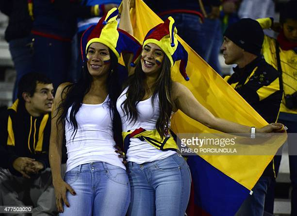 Colombian supporters cheer for their team before the 2015 Copa America football championship match against Brazil in Santiago Chile on June 17 2015...