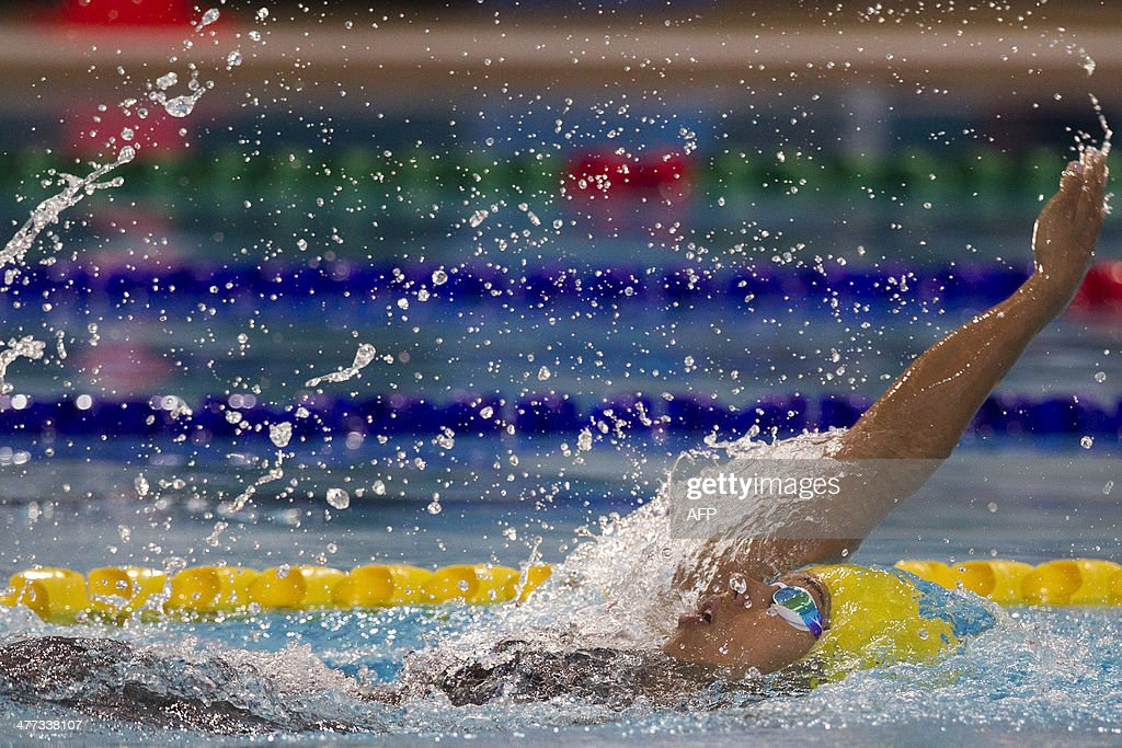 Colombian swimmer Carolina Colorado competes in the Women's 200m Backstroke final during the X South American Games in Santiago on March 8 2014 AFP...