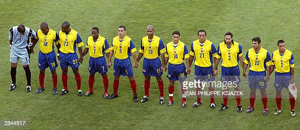 Colombian team observes one minute of silence in homage to Cameroonian midfielder MarcVivien Foe before the soccer Confederations Cup match between...