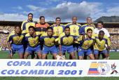 Colombian teammates pose for a photo Top Mario Yepes Oscar Cordoba Victor Aristizabal Freddy Grisales and Juan Ramirez Below Gerardo Bedoya Fabian...