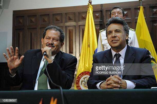 Colombian VicePresidentelect Angelino Garzon speaks during a press conference next to Ecuador's VicePresident Lenin Moreno in Quito on July 22 2010...