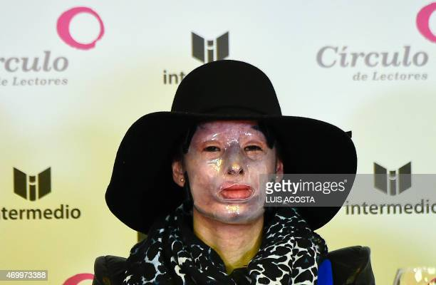 Colombian victim of assault using acid Natalia Ponce De Leon gives a press conference during the launching of her book ' Rebirth of Natalia Ponce de...