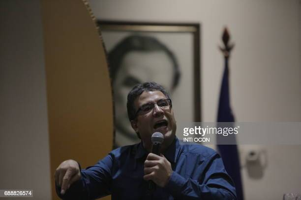 Colombian writer Alberto Salcedo speaks during a discussion on 'Gabriel García Marquez Creator of a literary world beyond reality' during the last...
