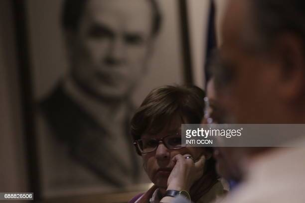 Colombian writer Piedad Bonnet listens to a conversation about 'Gabriel García Marquez Creator of a literary world beyond reality' during the last...