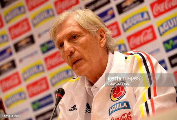 Colombian's football team coach Jose Pekerman speaks during the press conference at the New Condomina stadium in Murcia on June 6 2017 on the eve of...