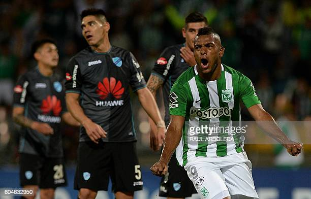 Colombia's Atletico Nacional Migual Borja celebrates after scoring against Bolivia's Bolivar during their Copa Sudamericana match at the Atanasio...