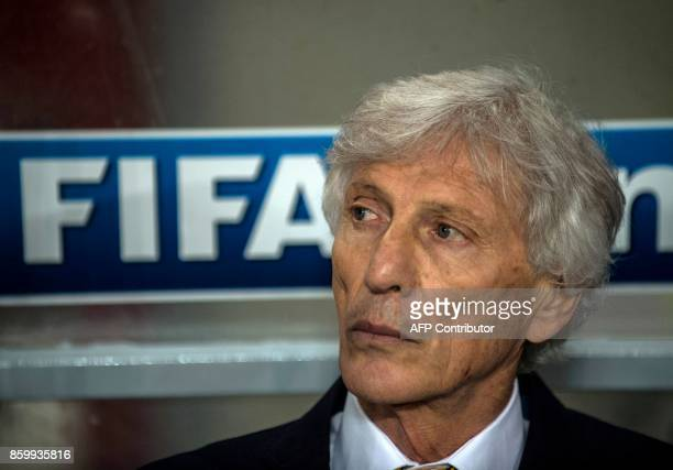 Colombia's coach Jose Pekerman follows the action during their 2018 World Cup qualifier football match against Peru in Lima on October 10 2017 / AFP...