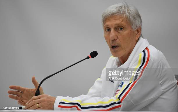 Colombia's coach Jose Pekerman speaks during a press conference in Barranquilla Colombia on September 4 2017 on the eve of their 2018 World Cup...