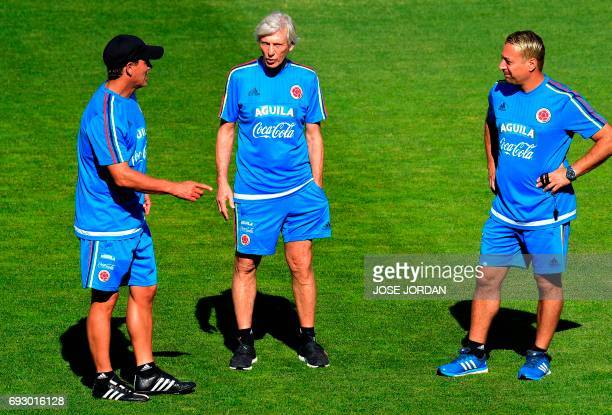 Colombia's coach Jose Pekerman stands during a training session at the New Condomina stadium in Murcia on June 6 2017 on the eve of their friendly...