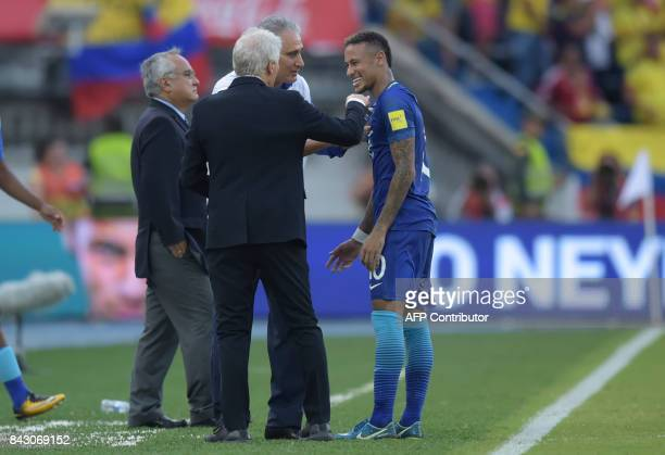 Colombia's coach Jose Pekerman talks to Brazil's coach Tite and Brazil's Neymar at the end of their 2018 World Cup football qualifier match in...