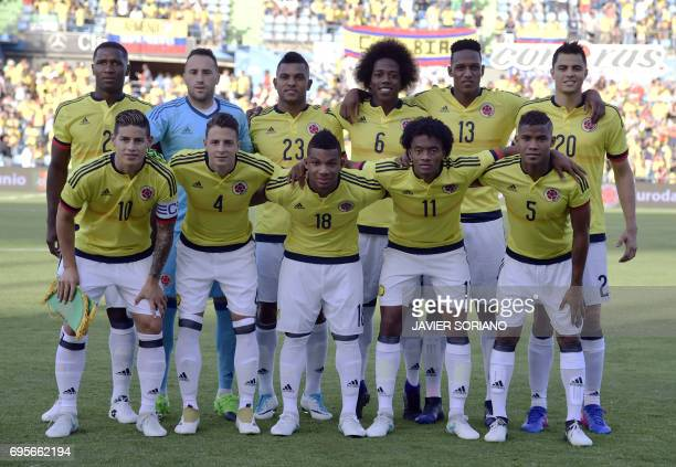 Colombia's defender Cristian Zapata Colombia's goalkeeper David Ospina Colombia's forward Miguel Borja Colombia's midfielder Carlos Sanchez...
