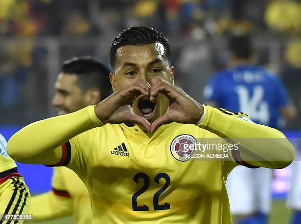 Colombia's defender Jeison Murillo celebrates after scoring against Brazil during their Copa America football match at the Estadio Monumental David...