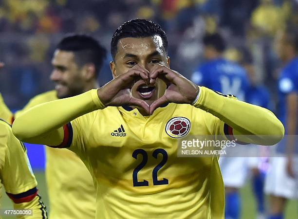 Colombia's defender Jeison Murillo celebrates next to Colombia's forward Teofilo Gutierrez after scoring against Brazil during their Copa America...