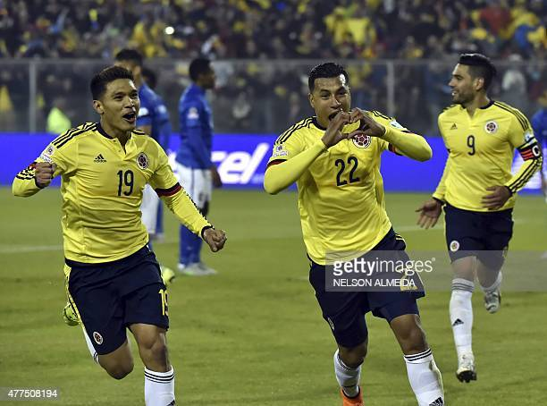 Colombia's defender Jeison Murillo celebrates next to teammate Teofilo Gutierrez after scoring against Brazil during their Copa America football...