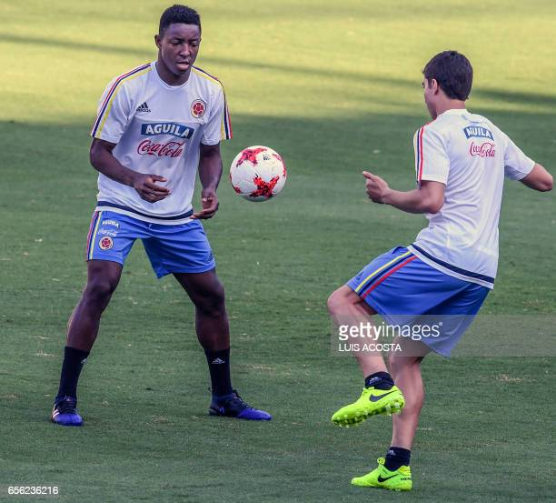 Colombia's defender Oscar Murillo takes part in a training session at the Metropolitano Stadium in Barranquilla on March 21 2017 ahead of their FIFA...