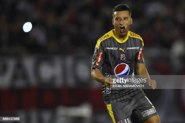 Colombia's Deportivo Independiente Medellin midfielder John Hernandez celebrates after scoring a goal against Argentina's River Plate during the Copa...