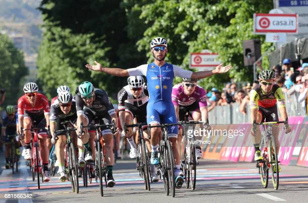 Colombia's Fernando Gaviria of team QuickStep celebrates as he crosses the finish line of the 5th stage of the 100th Giro d'Italia Tour of Italy...