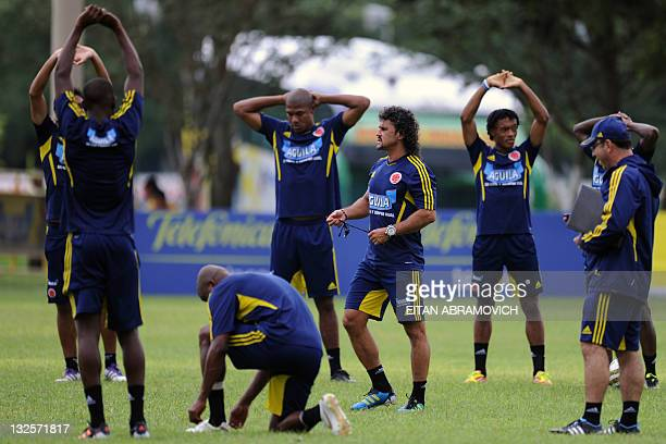 Colombia's football team coach Leonel Alvarez conducts a training session in Barranquilla on November 12 2011 Colombia will play their fourth Brazil...