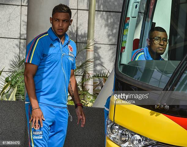 Colombia's football team players Luis Muriel and Farid Diaz are seen before a training session in Barranquilla Colombia on October 9 2016 ahead of a...
