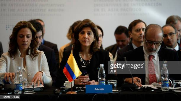 Colombia's Foreign Minister Maria Angela Holguin attends the Pacific Alliance Ministers' Summit in Vina del Mar Chile on March 15 2017 The highlevel...