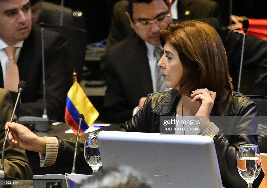 Colombia's Foreign Minister <a gi-track='captionPersonalityLinkClicked' href=/galleries/search?phrase=Maria+Angela+Holguin&family=editorial&specificpeople=7133255 ng-click='$event.stopPropagation()'>Maria Angela Holguin</a> during the UNASUR meeting in Quito, on March 14, 2015. Ecuador called for an UNASUR special meeting to analize the US sanctions on Venezuela and dennounces of destabilization of the government of President Nicolas Maduro.