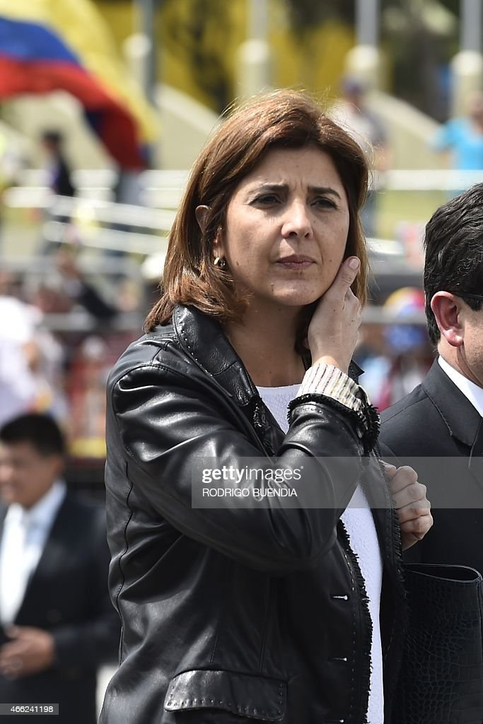 Colombia's Foreign Minister <a gi-track='captionPersonalityLinkClicked' href=/galleries/search?phrase=Maria+Angela+Holguin&family=editorial&specificpeople=7133255 ng-click='$event.stopPropagation()'>Maria Angela Holguin</a> gestures upon arrival to take part in the UNASUR meeting in Quito, on March 14, 2015. Ecuador called for an UNASUR special meeting to analize the US sanctions on Venezuela and dennounces of destabilization of the government of President Nicolas Maduro.