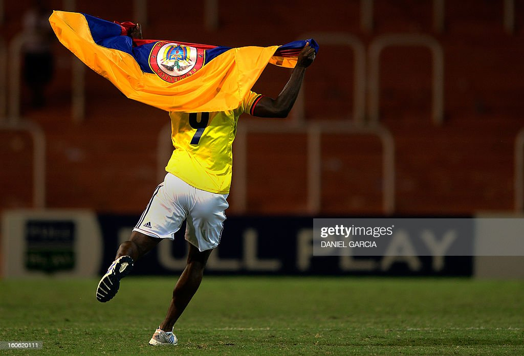 Colombia's forward Jhon Cordoba celebrates at the end of the South American U-20 final round football match against Paraguay at Malvinas Argentinas stadium in Mendoza on February 3, 2013. Colombia won 2-1. Four teams will qualify for the FIFA U-20 World Cup Turkey 2013.