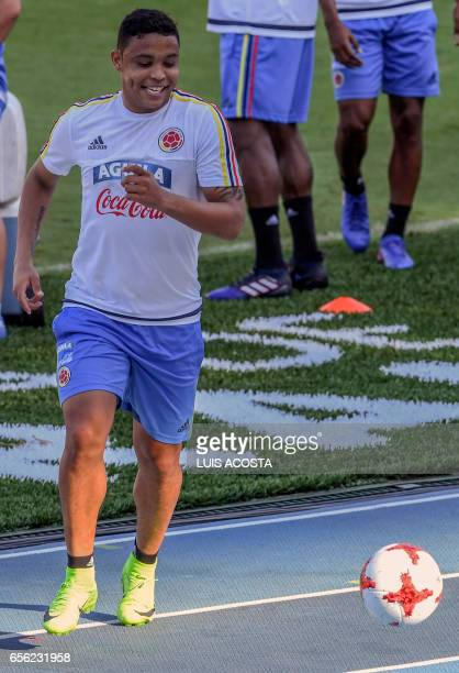 Colombia's forward Luis Muriel takes part in training session at the Metropolitano Stadium in Barranquilla on March 21 2017 ahead of their FIFA World...