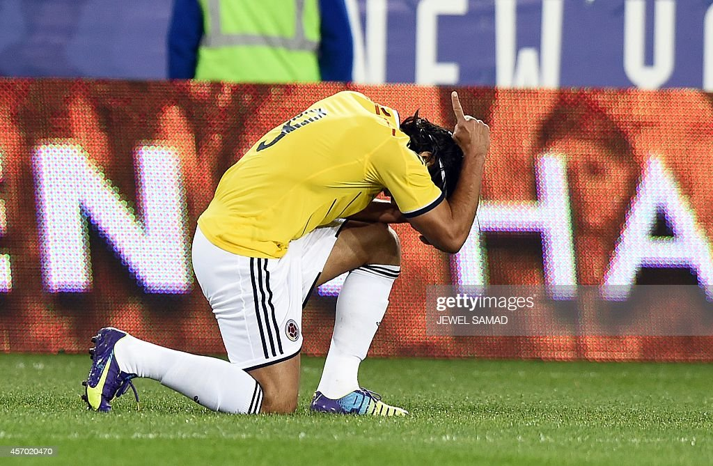 Colombia's forward Radamel Falcao celebrates after scoring a goal against El Salvador during their friendly match at the Red Bull Arena in Harrison...