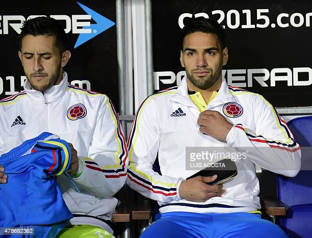 Colombia's forward Radamel Falcao Garcia and goalkeeper Camilo Vargas are seen before the start of the 2015 Copa America football championship...