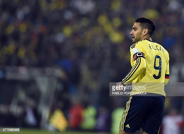 Colombia's forward Radamel Falcao Garcia gestures during their Copa America football championship match against Brazil in Santiago Chile on June 17...