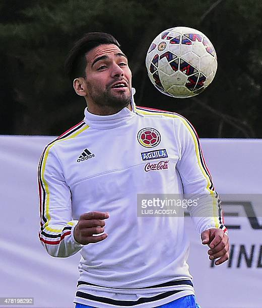 Colombia's forward Radamel Falcao Garcia takes part in a training session in Santiago on June 23 in the framework of the Copa America 2015 AFP...