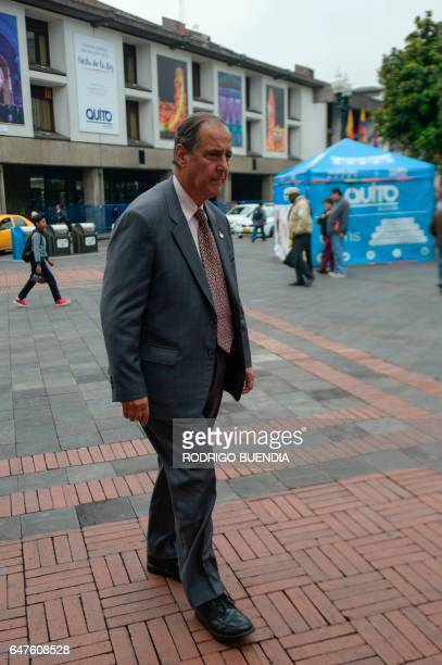 Colombia's government representative Juan Camilo Restrepo walks toward the archibishop's palace before a meeting with ELN guerrillas in the framework...