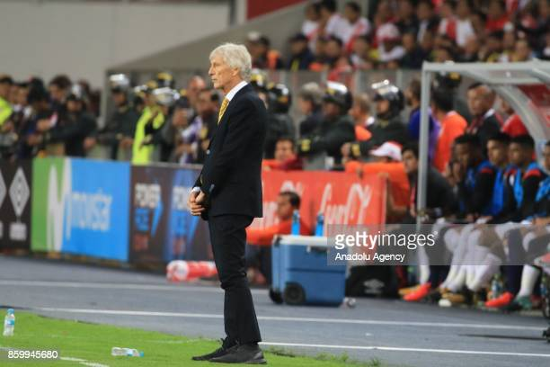 Colombia's head coach Jose Pekerman looks on during the 2018 FIFA World Cup Qualification match between Peru and Colombia at National Stadium in Lima...