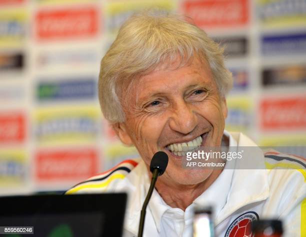 Colombias head coach Jose Pekerman participates in a press conference upon their football teams arrival to Lima on October 9 one day ahead of their...