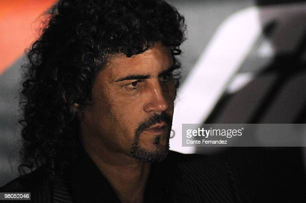Colombia's Independiente Medellin head coach Leonel Alvarez observes his players during their match against Uruguay's Racing as part of the Santander...