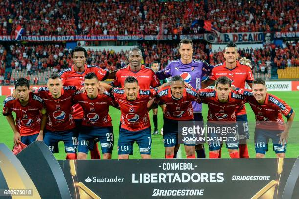 Colombia's Independiente Medellin members pose for the picture before the start their 2017 Copa Libertadores football match against Ecuador's Emelec...