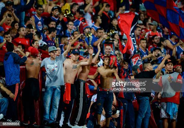 Colombia's Independiente Medellin supporters cheer for their team during their 2017 Copa Libertadores football match against Ecuador's Emelec at...