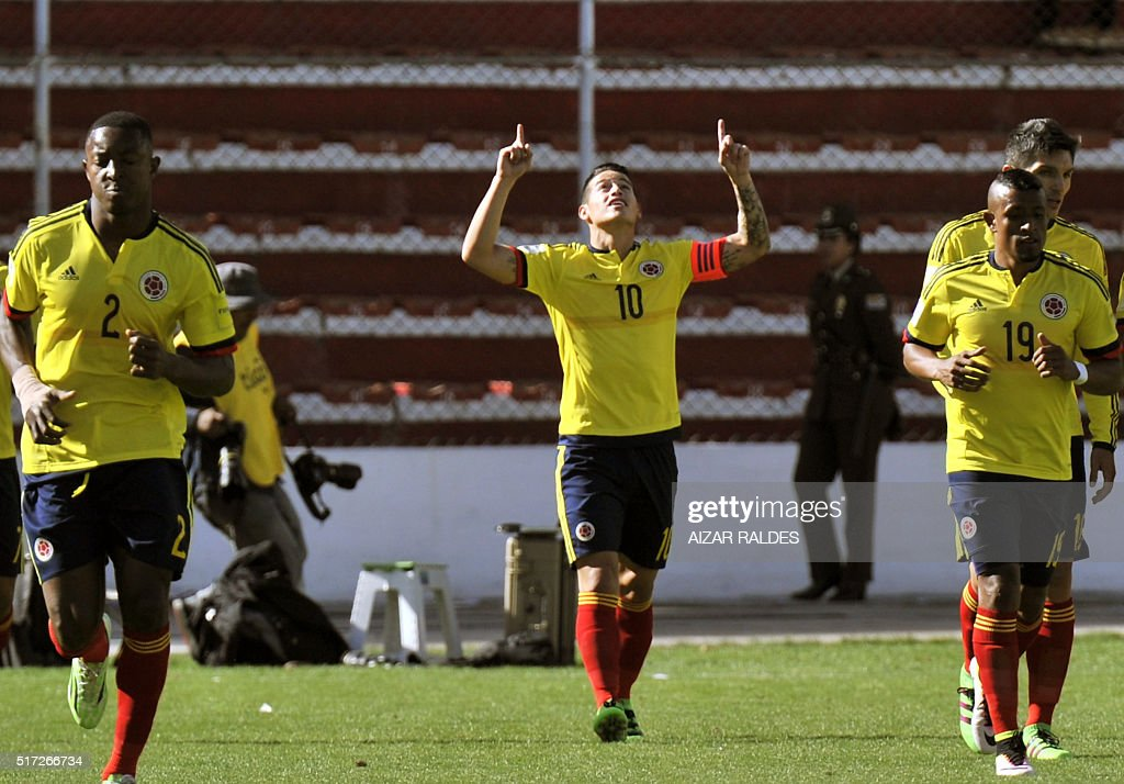 Colombia's James Rodriguez celebrates after scoring against Bolivia during their Russia 2018 FIFA World Cup South American Qualifiers' football match...