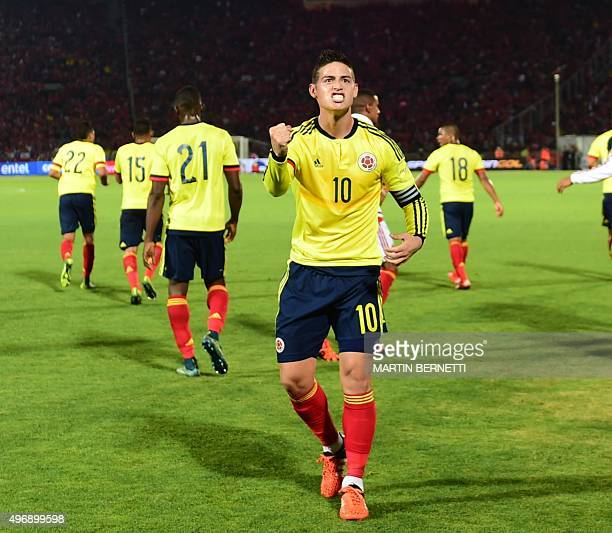 Colombia's James Rodriguez celebrates after scoring against Chile during their Russia 2018 FIFA World Cup South American Qualifiers football match in...