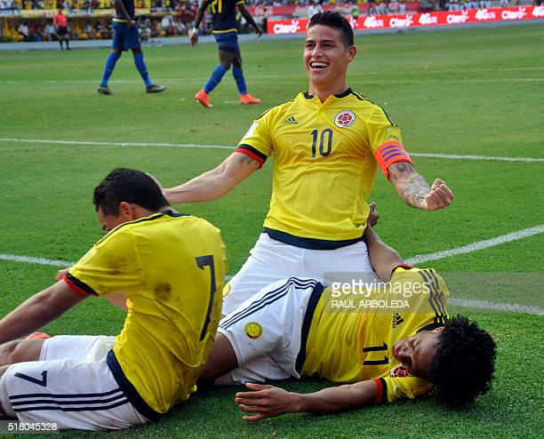 Colombia's James Rodriguez celebrates after scoring against Ecuador during their Russia 2018 FIFA World Cup South American Qualifiers' football match...