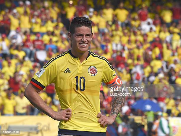 Colombia's James Rodriguez is pictured during the Russia 2018 FIFA World Cup South American Qualifiers' football match against Ecuador in...