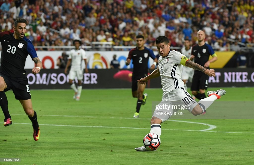 Colombia's James Rodriguez kicks during the Copa America Centenario third place football match against the USA in Glendale, Arizona, United States, on June 25, 2016. / AFP / Mark RALSTON