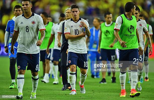Colombia's James Rodriguez leaves the field in dejection after being defeated by Costa Rica in their Copa America Centenario football tournament...