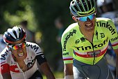 Colombia's Jarlinson Pantano and Poland's Rafal Majka ride in a breakaway during the 160 km fifteenth stage of the 103rd edition of the Tour de...