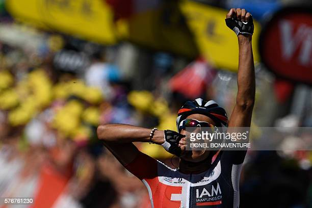 Colombia's Jarlinson Pantano celebrates as he crosses the finish line at the end of the 160 km fifteenth stage of the 103rd edition of the Tour de...