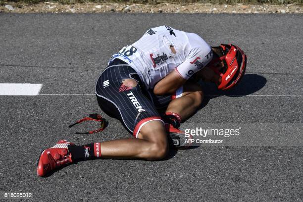 Colombia's Jarlinson Pantano lies on the ground after falling during the 165 km sixteenth stage of the 104th edition of the Tour de France cycling...