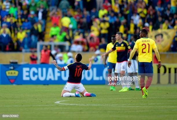 Colombia's midfielder James Rodriguez celebrates during their 2018 FIFA World Cup qualifier football match against Ecuador in Quito on March 28 2017...
