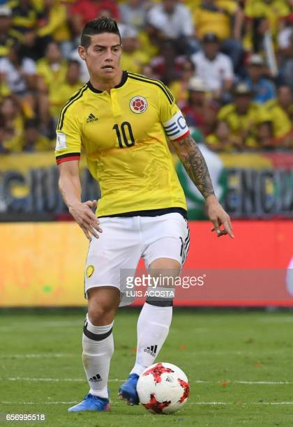 Colombia's midfielder James Rodriguez controls the ball during their 2018 FIFA World Cup qualifier football match against Bolivia in Barranquilla on...