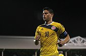 Colombia's midfielder James Rodriguez looks on during the friendly international football match between United States and Colombia at Craven Cottage...